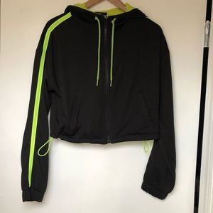 NWOT F21 Active Cropped Hoodie in Neon Green